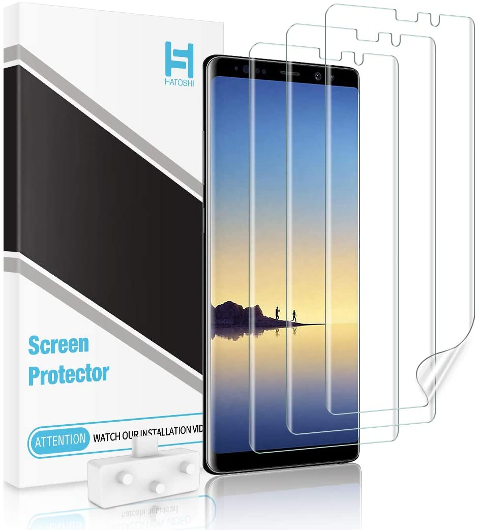 HATOSHI 3 Pack Screen Protector Compatible with Samsung Galaxy Note 8, Flexible TPU Film, Full Coverage, Alignment Tool, Case Friendly HD Clear Protectorfor Samsung Galaxy Note 8