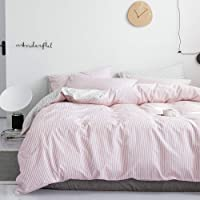 Black Stripe Geometric Face Pattern Printed on White Reversible 100/% Cotton Bedding 1 Comforter Cover Full and 2 Pillowcases for Kids Teens Boys Girls LAYENJOY Abstract Duvet Cover Set Queen