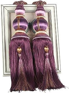 ZHMF - 1 par de Abrazaderas para Cortinas, Sujetadores con Clip, alzapaños de Cuerda Hechos a Mano con borlas para decoración de Ventanas del hogar