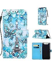 DYGG Compatible Funda Samsung Galaxy A80, Carcasa Libro de Cuero con Tapas y Cartera, Cover Tarjetas y Billetera, Cierre Magnético - Mariposa de la Torre