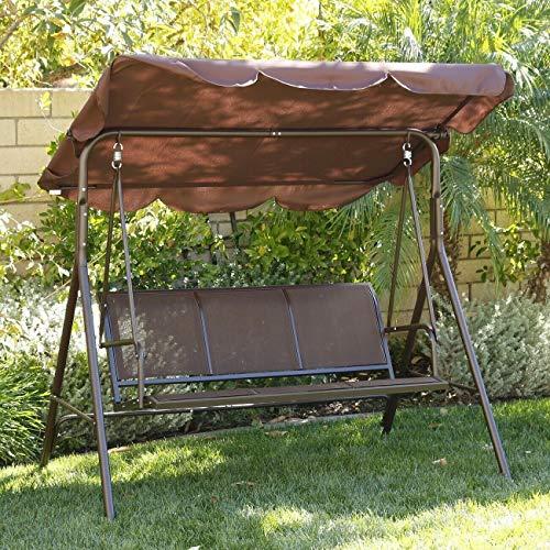 ADHW Sunshade Dark Brown Porch Swing Glider Outdoor Chair Tilt UV Resistant 3 Seater