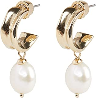Carolee Women's Freshwater Pearl Coin Drop Hoop Earring