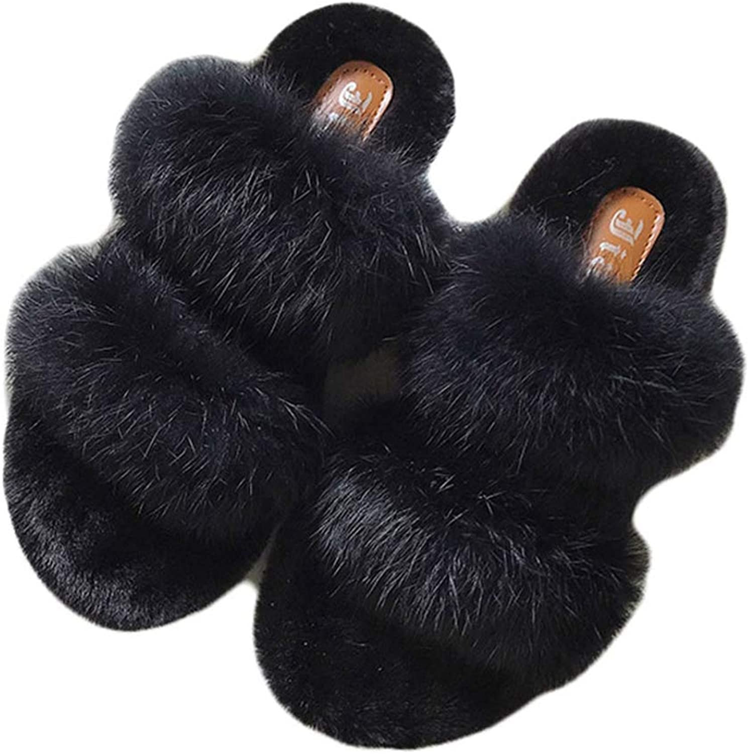 Kyle Walsh Pa Women Slippers shoes Rabbit Fur Slippers Real Hair Slides Female Furry Indoor Flip Flops Fluffy Plush shoes House