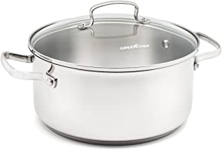 GreenChef CC000873-001 Profile Plus Stainless Steel 100% ToxinFree Healthy Ceramic Nonstick Metal Utensil/Induction/Dishwasher/OvenSafe Casserole with Lid - 24cm - 4.9L - Silver