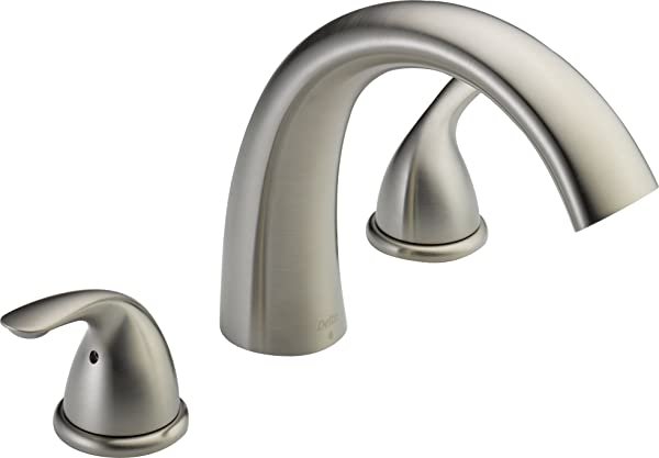 Delta Faucet Classic 2 Handle Widespread Roman Tub Faucet Trim Kit Deck Mount Stainless T2705 SS Valve Not Included