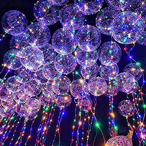 LED Bobo Luftballons Transparent Runde Form Luftballons Party Blinklicht Luftballons Perfekt für Geburtstag Valentinstag Party Hochzeit Urlaub Dekoration(20PCS)