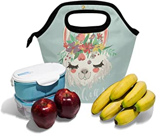 ランチバッグかわいいLlama Flower Printed Neoprene Tote再利用可能な断熱防水学校ピクニックキャリーコンテナグルメ弁当箱オーガナイザーメンズ、レディース、大人、子供、女の子、男の子