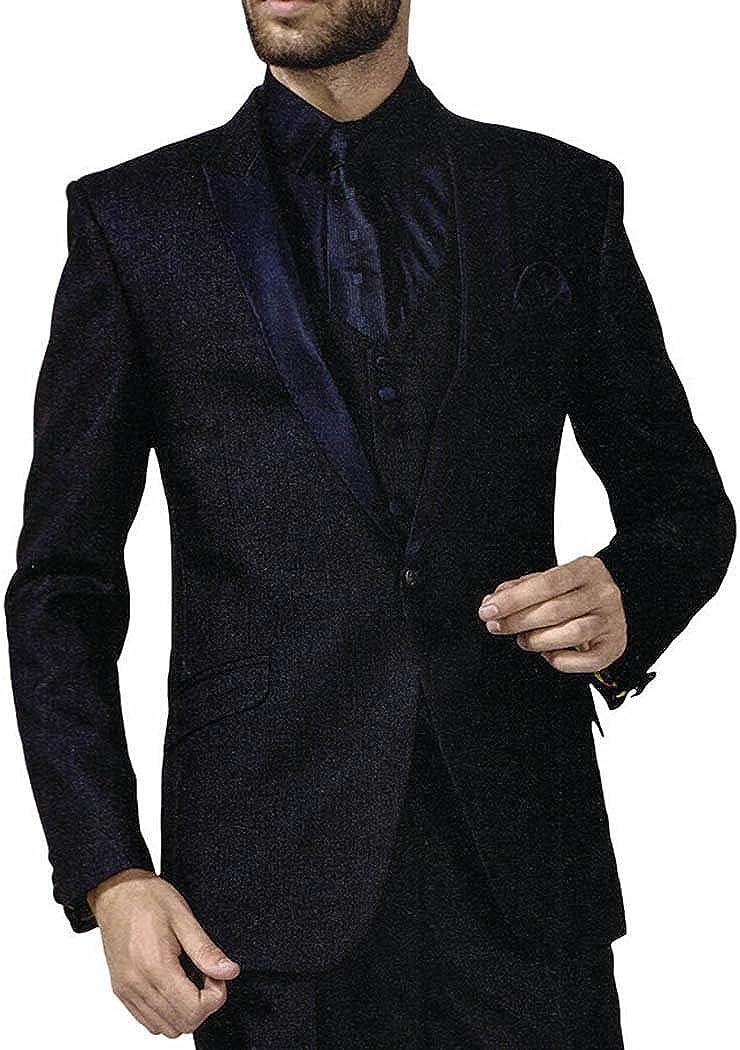 INMONARCH Mens Navy Blue 6 Pc Tuxedo Suit One Button Peak Lapel TX1029XL48 48 X-Long Navy Blue