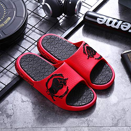 YYFF Zapatillas Flip Flops Sandal,Household Couple Sandals,Beach Flip Flops-Red_44-45,Hombre Chanclas Suela