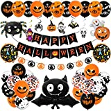 Decoracion Halloween Casa,Happy Halloween globos,pancarta,araña, murciélago e calabaza fantasma,para Partido de Halloweendecoración(43 pieza conjunto