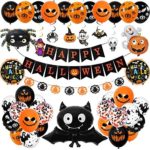 Decoracion Halloween Casa,Happy Halloween globos,pancarta,araña, murciélago e calabaza fantasma,para Partido de Halloweendecoración(43 pieza conjunto 🔥