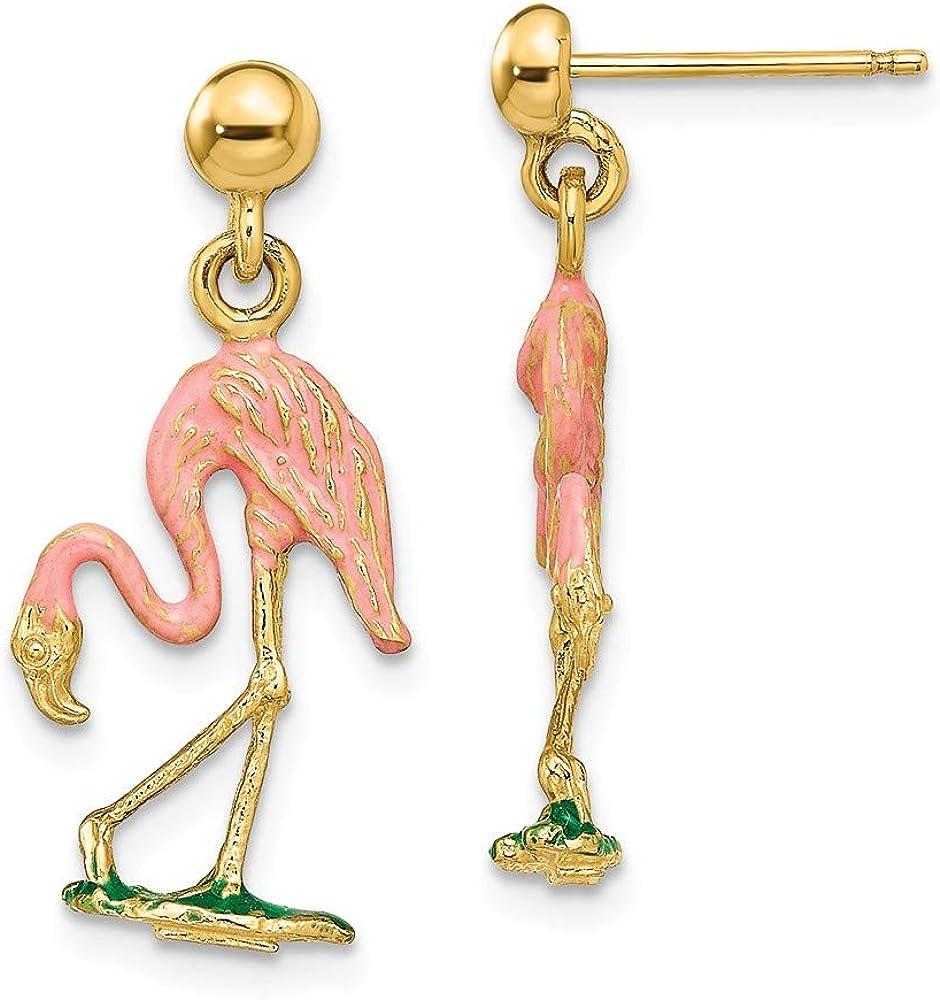 14k Yellow Gold Enamel 3 D Flamingo Drop Dangle Chandelier Post Stud Earrings Animal Bird Fine Jewelry For Women Gifts For Her