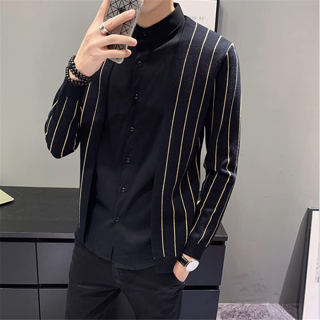 GYZX Autumn and Winter Small Man 150 Small Size Men's Small Fake Two-Piece Cardigan Type (Color : Black, Size : XXL Code)