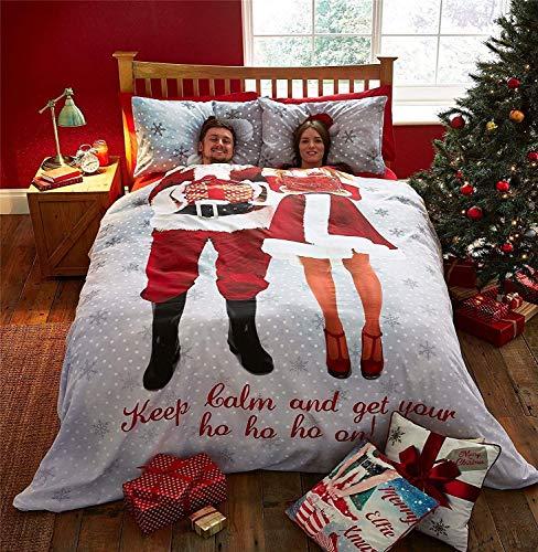 Noël Mr & Mrs Santa Claus Flocons Blanc Rouge Gris King (Taille Uni Gris Argent Drap - 152 X 200CM + 25) Uni Gris Argent Taies 6 Pièces Literie