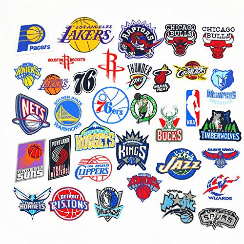 35 pcs NBA basketball team logo badge Hierro en Parches,Pegatinas Bordado Bricolaje Decoración,para Ropa, Jeans, chaquetas, mochilas, faldas