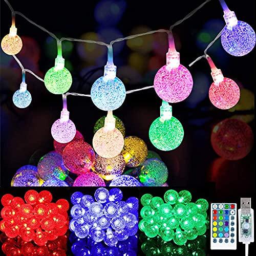 Globe Lichterketten 39,4 FT 100 LED Kristallblase Kugellichter Wasserdicht USB-betrieben RGB 16 Farben Wechsel Feen Lichterketten mit 8 Modi