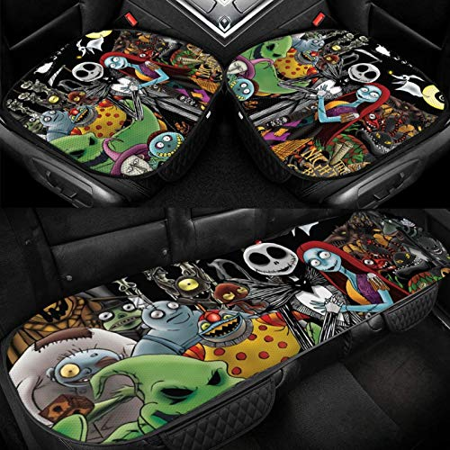 Lncsdk Aeuv The Nightmare Before Christmas Car Seat Cushion, 3pc Comfortable Seat Protector with Non Slip Bottom, Breathable Car Interior Seat Cushion Pad Mat for Office Chair, Wheelchair and More