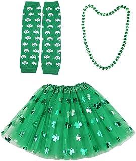 TENDYCOCO, Conjunto de Accesorios de Disfraces del Día de San Patricio Trébol Falda de Malla Impresa Collar Calentador de Brazos Disfrazarse para La Fiesta del Festival de Lady Girl (Verde)