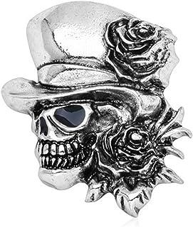 Xuniu Brosche, Goth Vintage Punk Halloween Party Schädel Skelett Rose Blume Brosche Geschenke Silber