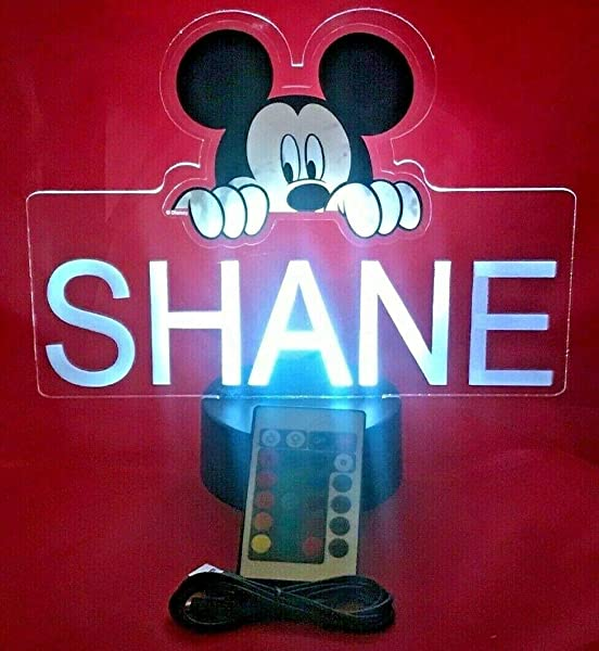 Mickey Mouse Light Up Lamp LED Personalized With Name Night Light Engraved Mickey Table Lamp Our Newest Feature It S Wow With Remote 16 Color Options Dimmer Free Engraved Great Gift