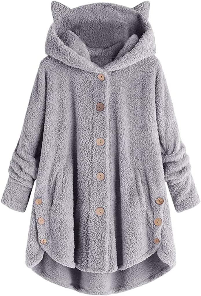 ZEFOTIM Fashion Women Button Coat Fluffy Tail Tops Hooded Pullover Loose Sweater