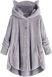 Women Hooded Sweater Coat,Plus Size Button Coat Solid Tops Hooded Sweatshirt Pullover Loose Sweater Blouse Outwear