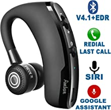 Wireless Bluetooth Earpiece V4.1+EDR – Smart Noise Cancelling Bluetooth Headset for Businessmen, Office, Driving, Trucker, Compatible with Android/iPhone/Google Assistant