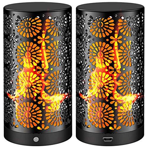 LED Flamme Wirkung Licht Wiederaufladbar Flackernde kleine Tischleuchte Flamme Glühbirnen Nachtlichter IP44 Wasserdicht mit Magnetisch Innen Kneipe Lampe Draussen Garten Schwarz (2 Stück)