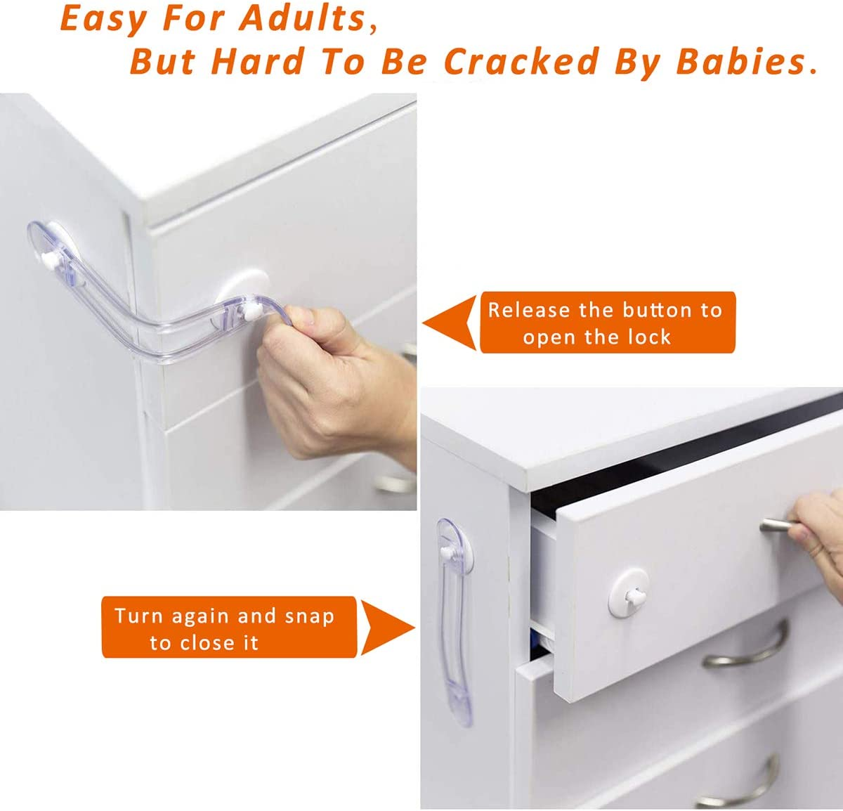 Cerraduras de Seguridad para Ni/ños,8 Piezas Transparente Bloqueo de Seguridad Adhesivo 3M Protector Cajones Bebe para Armarios Cocinas Puertas Ventanas Nevera