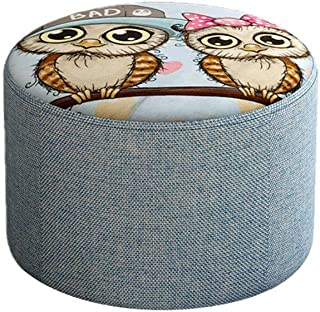 NOHOPE-Stools Animal Print Low Cylinder Stool/Modern Home Fabric Entrance Change Shoe Bench/Living Room Sofa Ottoman Footstool