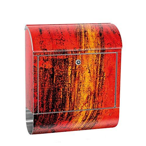 liwwing cassetta delle lettere in acciaio, con motivo e scomparto per giornali, giornali come XXL Design parete cassetta | Astratto 3d rosso marrone sfondo | No. 0103