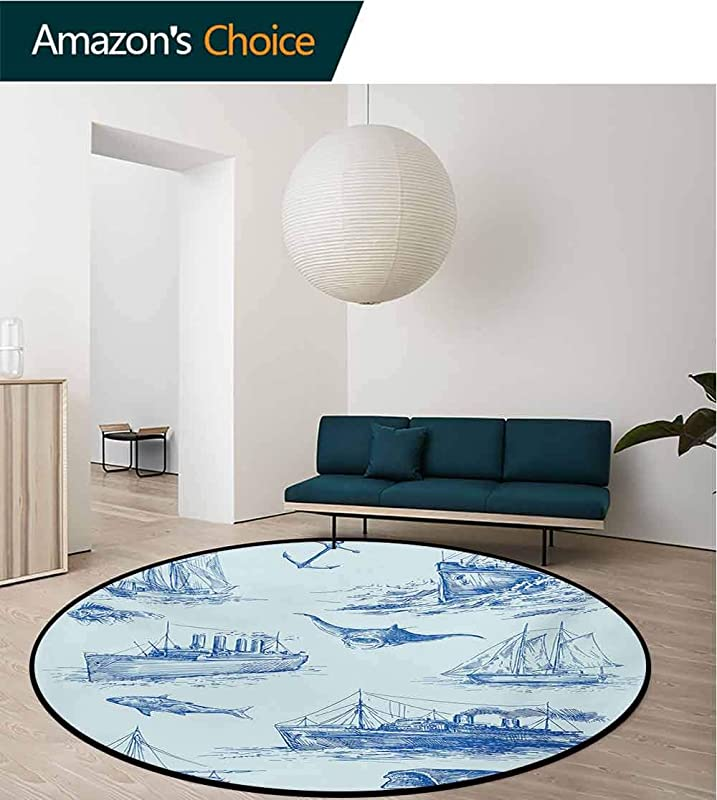 RUGSMAT Nautical Non Slip Area Rug Pad Round Nautical Underwater Wildlife Shark Ancient Boat Ships Navy Stormy Weather Protect Floors While Securing Rug Making Vacuuming Diameter 71 Inch