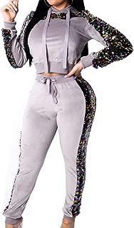 Women Casual Velvet Jumpsuit Sexy Sequin Long Sleeve Crop Top Hooded Solid High Waist Long Pants Botoom Set Sweatsuit