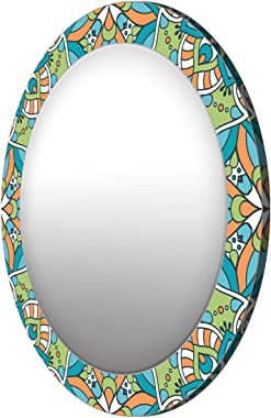 999Store Printed Green Abstract Pattern Round Mirror (MDF_24X24 Inch_Multi)