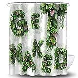 Whim-Wham Get Naked Duschvorhang Tropische Blätter Garten Kräuter Pflanzen Kokosnuss Palme Wald Badezimmer Dekor Vorhang Set mit 12 Haken 71''W By 71''L(180*180cm) F707