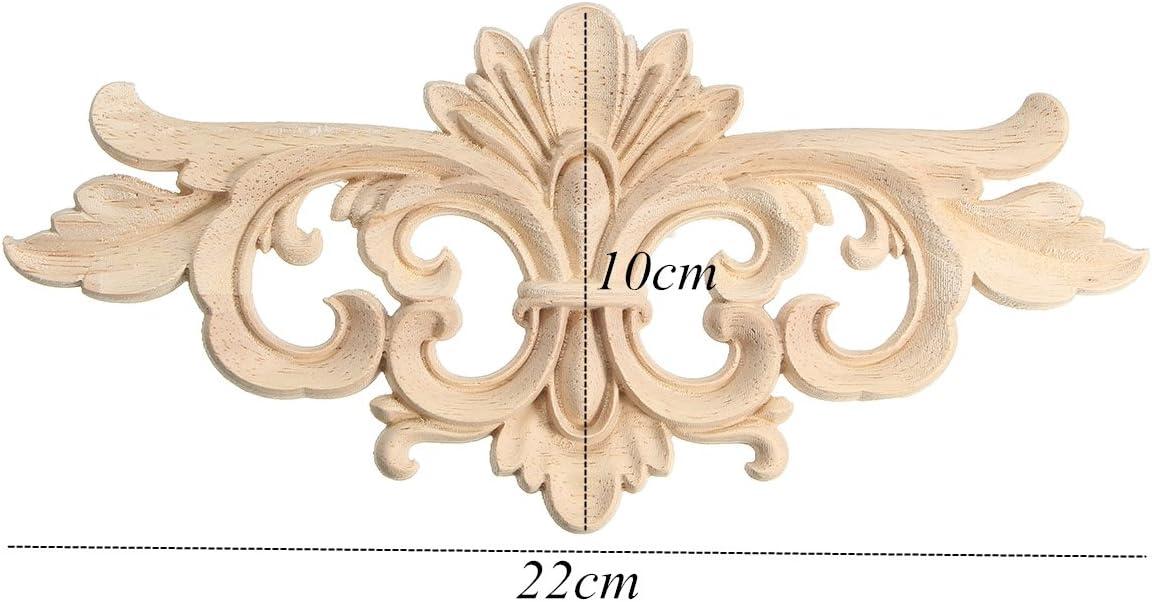 2pcs Bastelholz M/öbel Schnitzerei Holz Ornament Verziehrung Aufklebe Dekoration f/ür M/öbel Schrank 16x7.5cm
