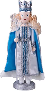 Traditional Snow Queen Nutcracker by Clever Creations | Collectible Wooden Christmas Nutcracker | Festive Holiday Décor | White and Blue Dress and Cape | With Snowflake Scepter | 100% Wood | 14