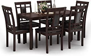 Giantex 7-Piece Kitchen Table Set, Dining Table with 6 Chairs, Modern Oak Wood Comfortable w/PU Leathered Cushioned Seats, Large Kitchen Table & Chair Sets (Brown) (Brown)