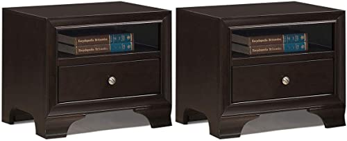 popular Giantex Wooden Set of 2 new arrival Nightstand W/one Drawer online sale and one Shelf and USB Port Charging Home Furniture for Living Room Bedroom Side End Table (Brown) online sale