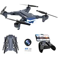 WiFi FPV Drone, Supkiir Foldable RC Quadcopter with 4K HD Camera, Portable Aircraft Toy for...