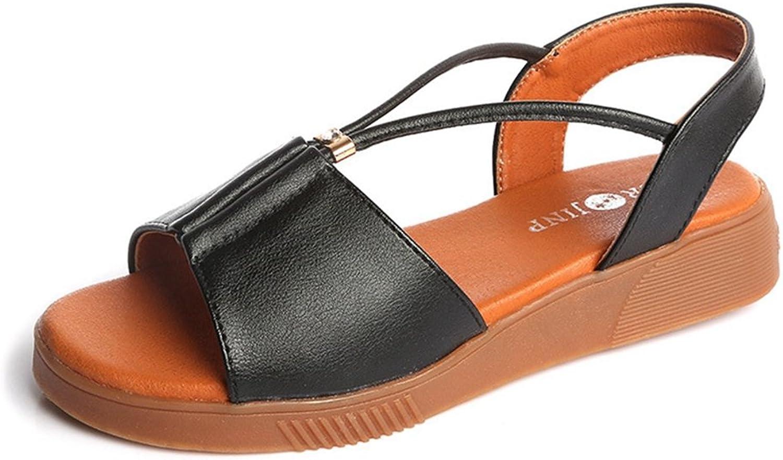 T-JULY Womens Ladies Fashion Wedge Bohemia Platform Flat Walking Sandals Slip on Comfy Casual Dress Slippers