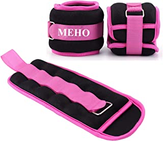 MEHO Ankle Weights, Ankle Weights for Women, Ankle and Wrist Weights for Men, Leg Weights Withe Adjustable Strap, Fitness, Resistance Training, Running - 1lb to 10lbs Pair