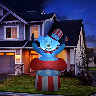 GOOSH 6.5 ft Tall Independence Day Inflatable Bear with Star Spangled Top Hat and American Flag Blowup Inflatables with Bu...