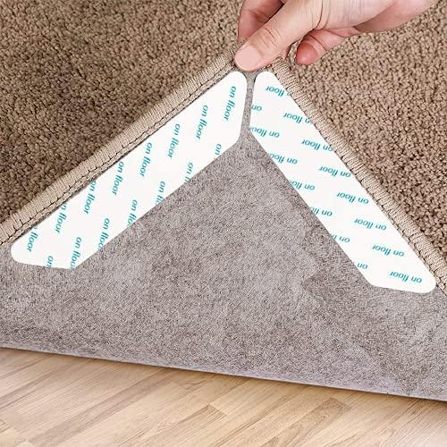 VOFUSHON Pinzas para Alfombras, 24 Piezas de Cinta Antideslizante para alfombras, Cinta Antideslizante Reutilizable y Lavable para Suelos de Madera,Reparador de Esquina de Alfombra(Blanco)