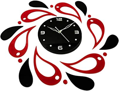 Woov Acrylic Wall Clock (20x18 inches, Black and Red)