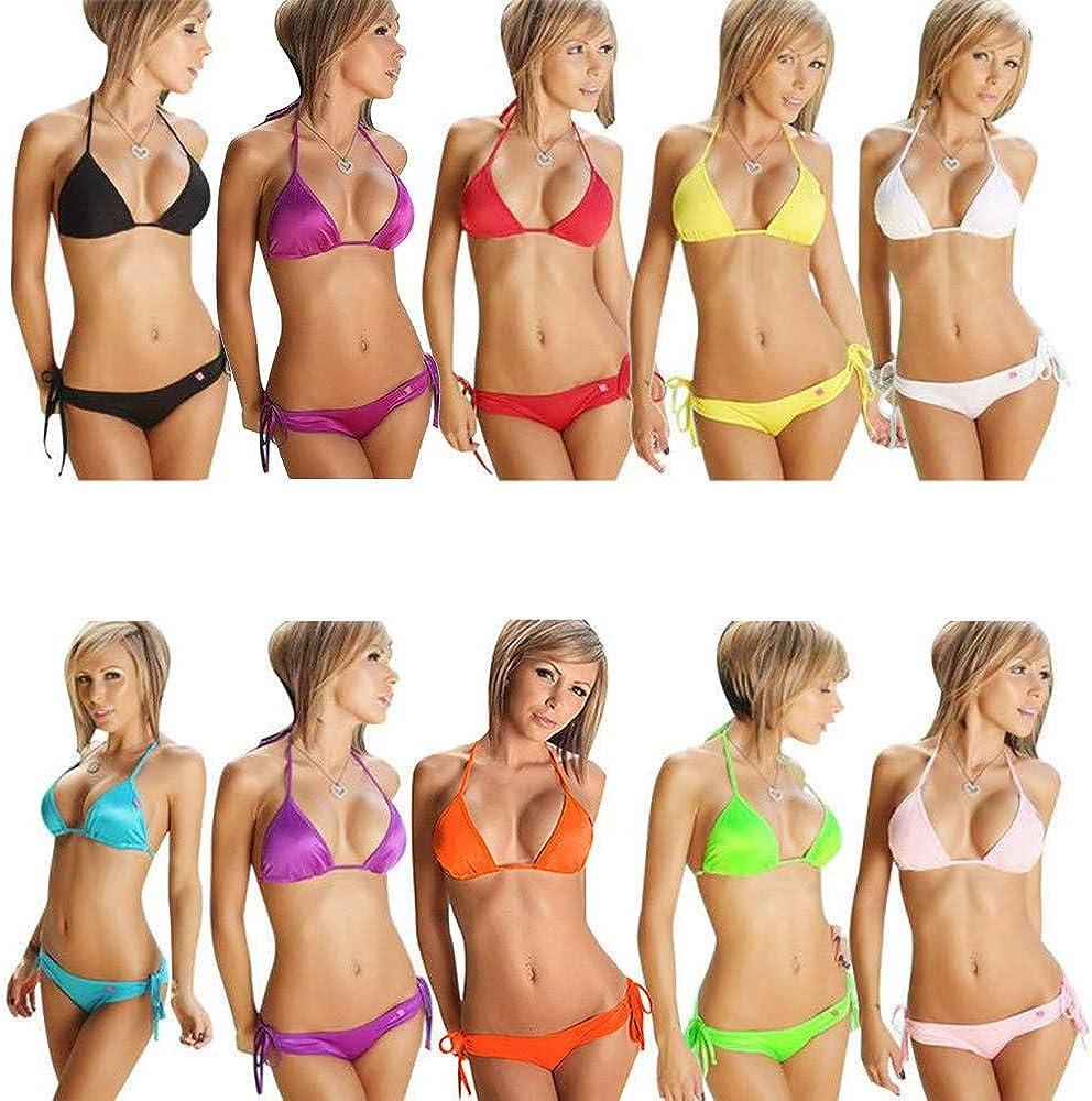 Two Piece Crop Bikini Top Swimwearsuit for Women Bathing Suits Top Tankini Set Spaghetti Sexy Detachable Padded Cutout
