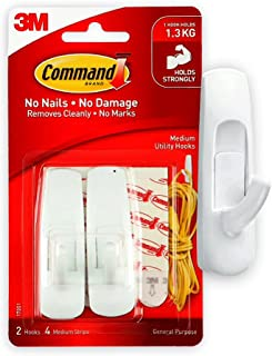 Command 17001ES Utility Hooks, medium, Holds 1.36 Kg. each hook, white color. 2 hooks and 4 strips/pack, Organize, Decorat...