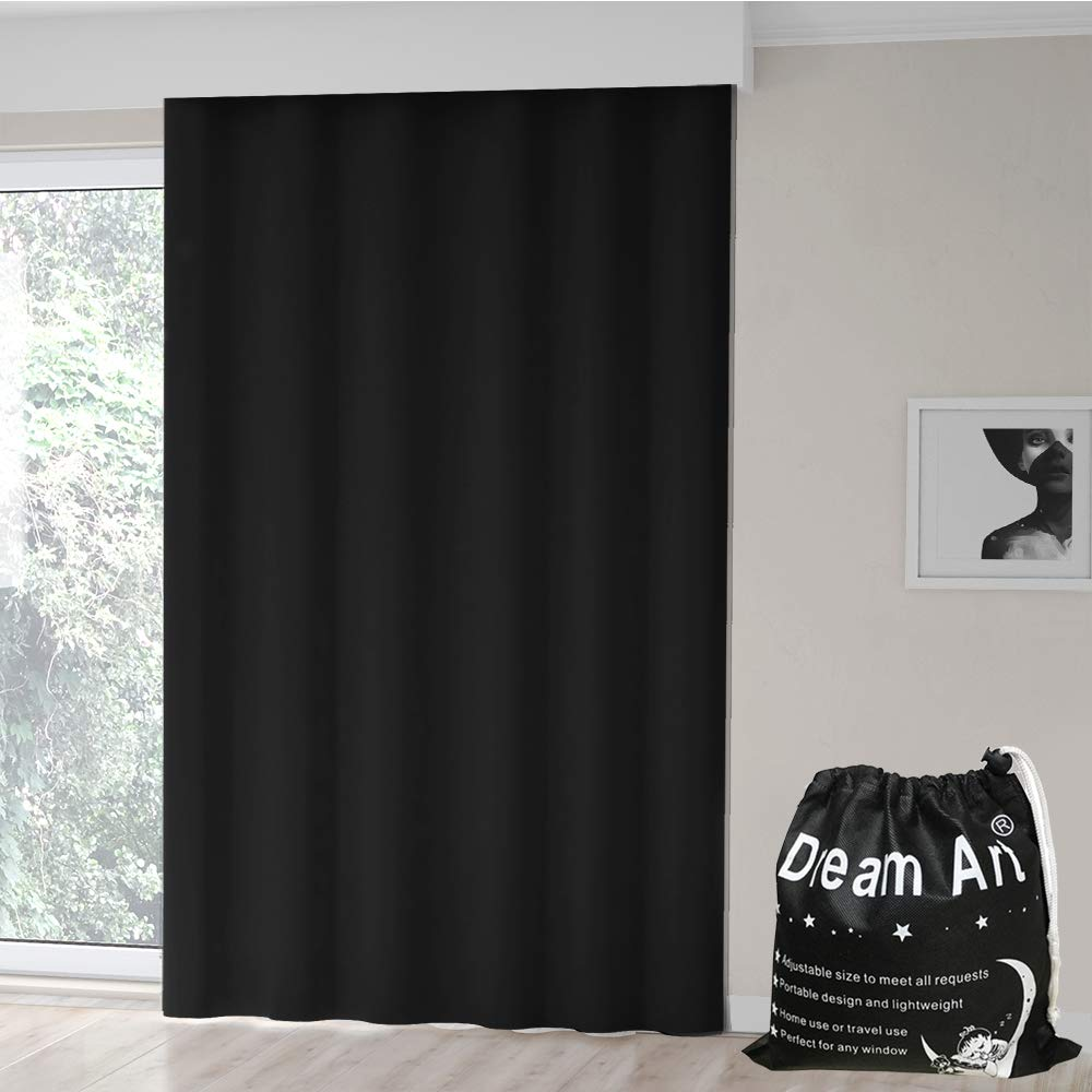 2-Pack Basics Portable Travel Window Blackout Curtain Shades with Suction Cups Black