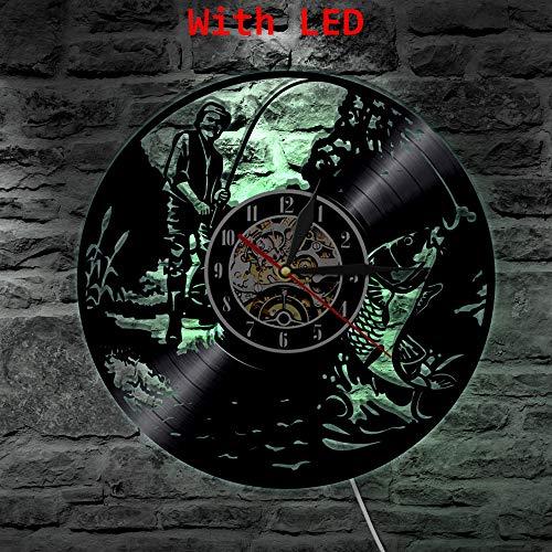 FDGFDG Fishing Man Led Vinyluhr Wandleuchte Farbwechsel Vintage LP Hintergrundbeleuchtung Moderne handgemachte Geschenkdekor Lampe