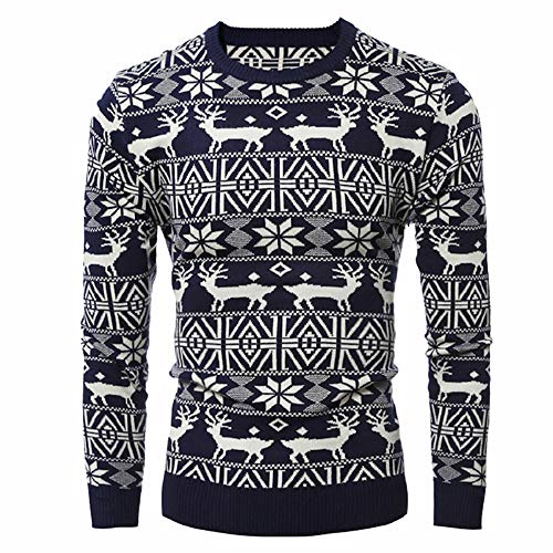 Bowen Jimmy Mens O Neck Sweater Deer Printed Autumn Winter Pullover Knitted Jumper Sweaters Slim Fit Navy3 L